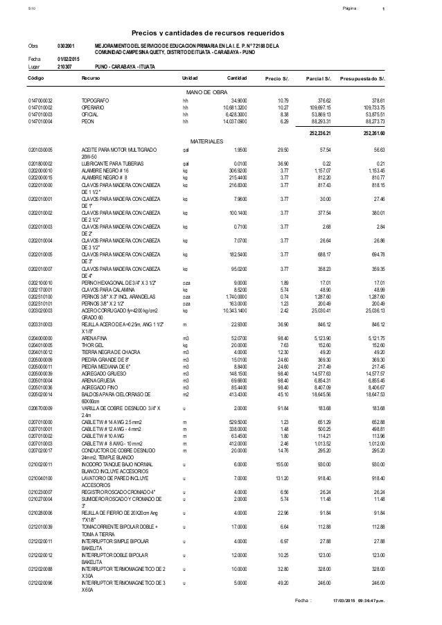 1Página :S10 Precios y cantidades de recursos requeridos Obra MEJORAMIENTO DEL SERVICIO DE EDUCACION PRIMARIA EN LA I. E. ...