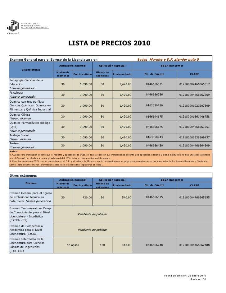 LISTA DE PRECIOS 2010  Examen General para el Egreso de la Licenciatura en                                                ...