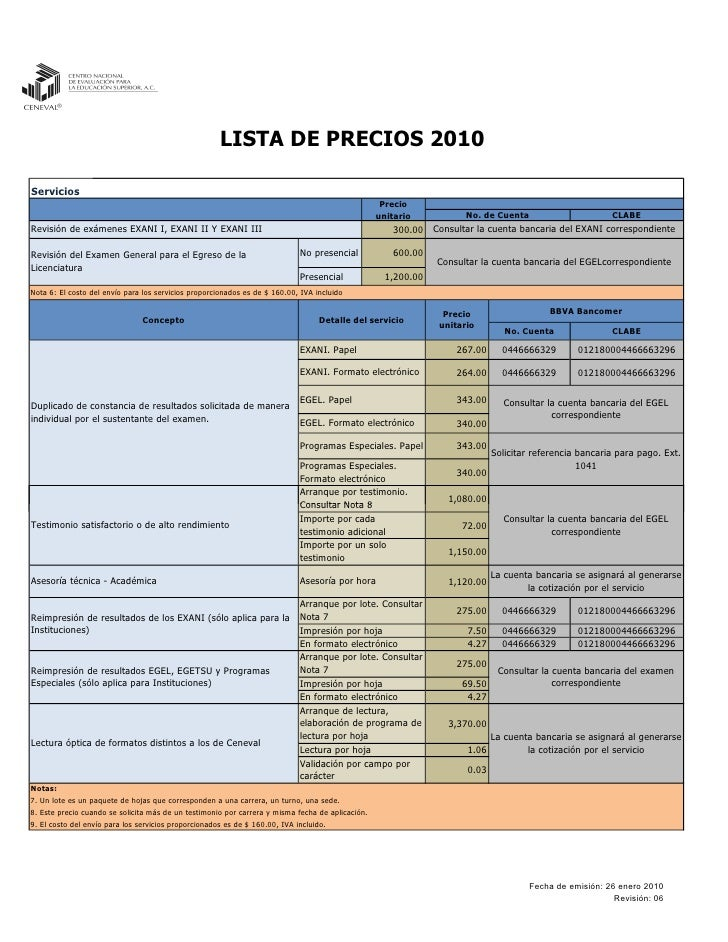 LISTA DE PRECIOS 2010  Servicios                                                                                          ...