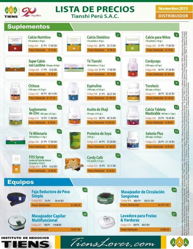 Lista de Precios de Productos TIENS - Distribuidor