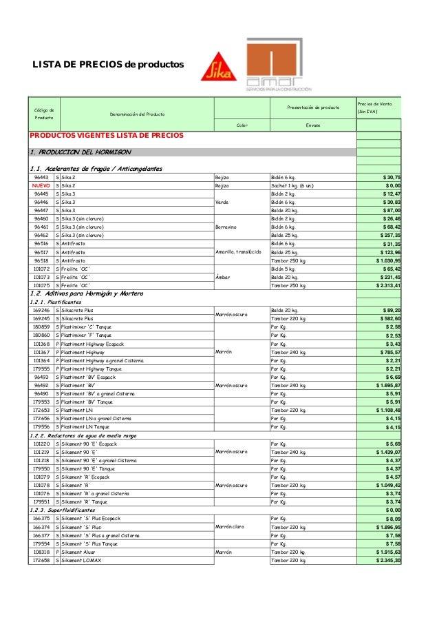 LISTA DE PRECIOS de productos Color Envase PRODUCTOS VIGENTES LISTA DE PRECIOS 1. PRODUCCION DEL HORMIGON 96443 S Sika 2 R...
