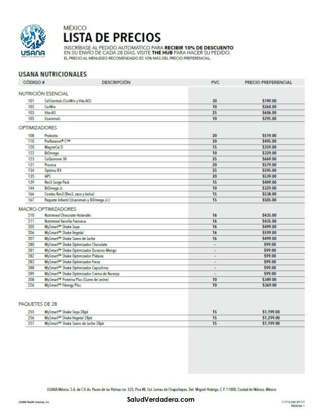 90c473a6c1f Lista de Precios USANA MEXICO 2017 | SaludVerdadera.com