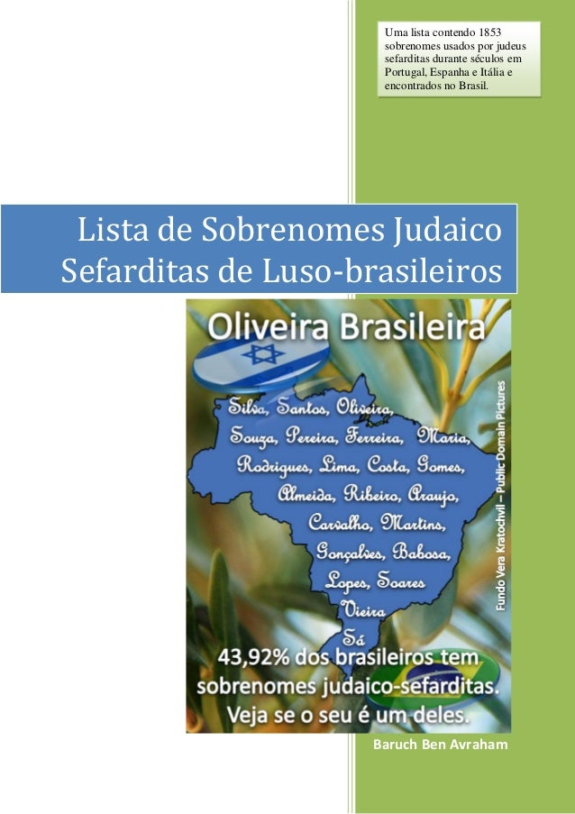 Baruch Ben Avraham Lista de Sobrenomes Judaico Sefarditas de Luso-brasileiros Uma lista contendo 1853 sobrenomes usados po...