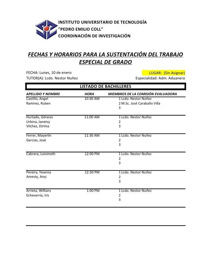 """INSTITUTO UNIVERSITARIO DE TECNOLOGÍA                     """"PEDRO EMILIO COLL""""                     COORDINACIÓN DE INVESTIG..."""