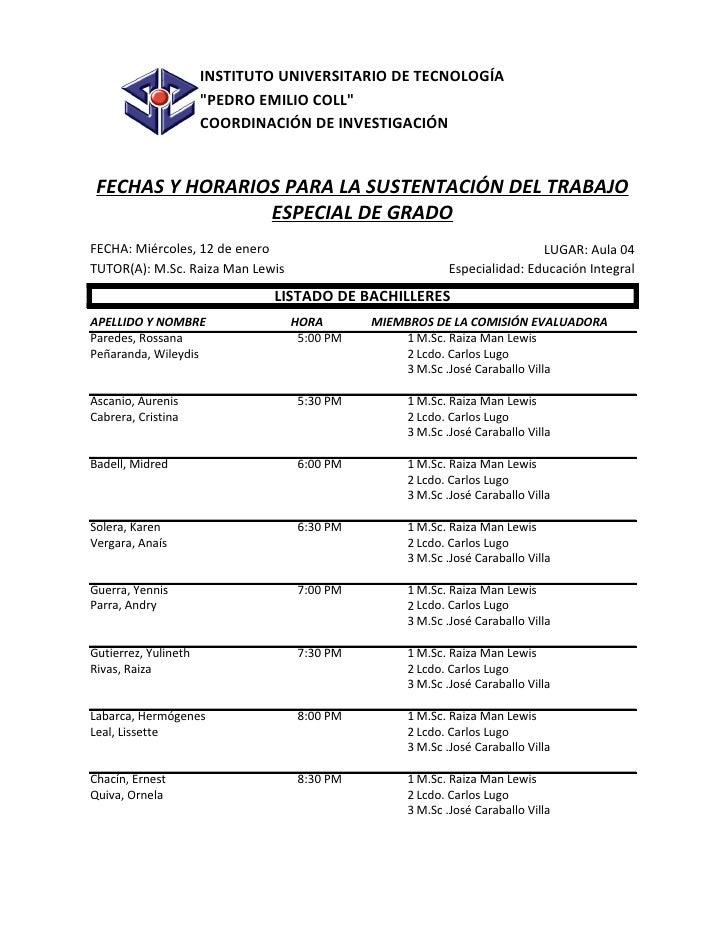 """INSTITUTO UNIVERSITARIO DE TECNOLOGÍA                      """"PEDRO EMILIO COLL""""                      COORDINACIÓN DE INVEST..."""