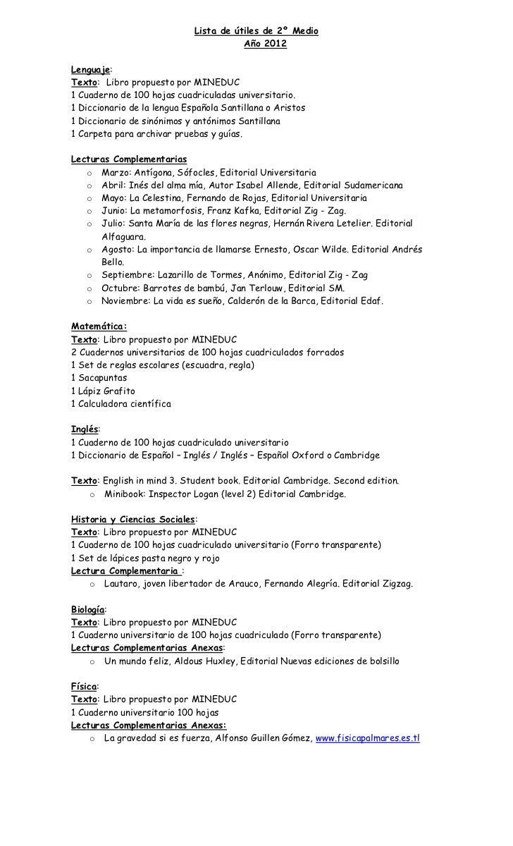 Lista de útiles de 2º Medio                                        Año 2012Lenguaje:Texto: Libro propuesto por MINEDUC1 Cu...