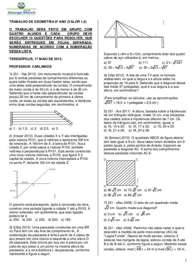 1TRABALHO DE GEOMETRIA 9º ANO (VALOR 1,0)O TRABALHO SERÁ FEITO EM GRUPO COMQUATRO ALUNOS E CADA GRUPO DEVEESCOLHER 10 QUES...