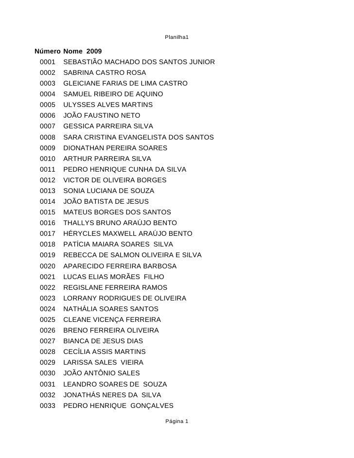 Planilha1  Número Nome 2009  0001   SEBASTIÃO MACHADO DOS SANTOS JUNIOR  0002   SABRINA CASTRO ROSA  0003   GLEICIANE FARI...