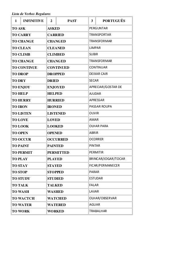 Lista de verbos regulares e irregulares