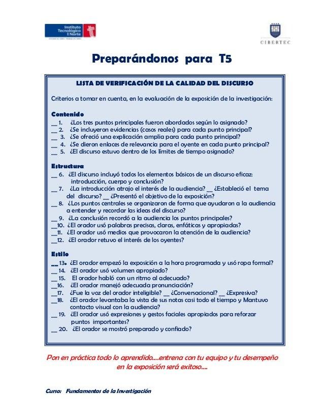 Preparándonos para T5           LISTA DE VERIFICACIÓN DE LA CALIDAD DEL DISCURSO  Criterios a tomar en cuenta, en la evalu...