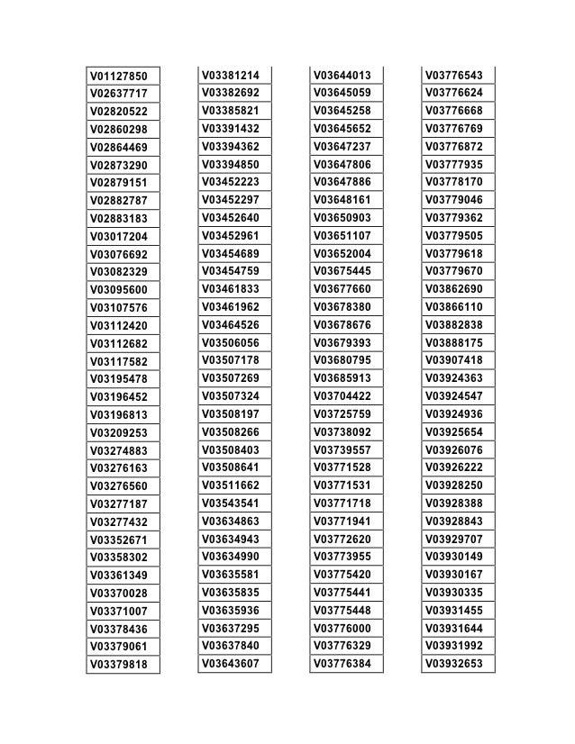 V01127850   V03381214   V03644013   V03776543V02637717   V03382692   V03645059   V03776624V02820522   V03385821   V0364525...