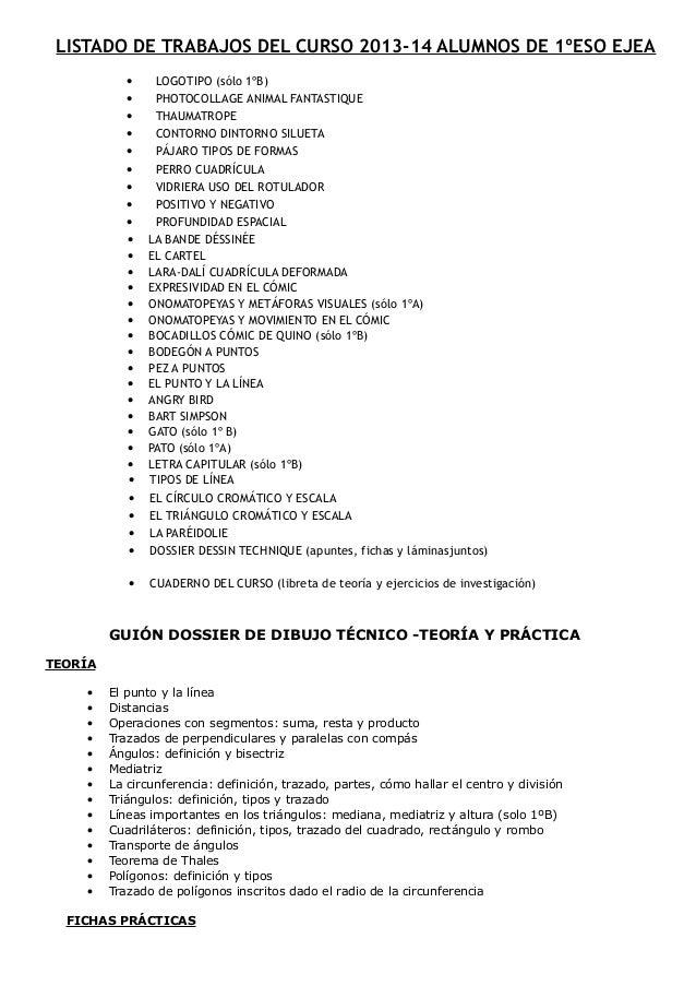 LISTADO DE TRABAJOS DEL CURSO 2013-14 ALUMNOS DE 1ºESO EJEA • LOGOTIPO (sólo 1ºB) • PHOTOCOLLAGE ANIMAL FANTASTIQUE • THAU...