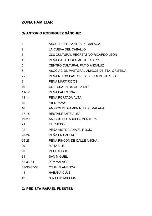 ZONA FAMILIAR C/ ANTONIO RODRÍGUEZ SÁNCHEZ 1 ASOC. DE FERIANTES DE MÁLAGA 2 LA CUEVA DEL CABALLO 3 CLU CULTURAL RECREATIVO...