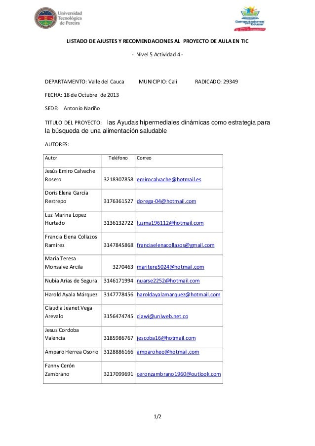 LISTADO DE AJUSTES Y RECOMENDACIONES AL PROYECTO DE AULA EN TIC - Nivel 5 Actividad 4 -  DEPARTAMENTO: Valle del Cauca  MU...