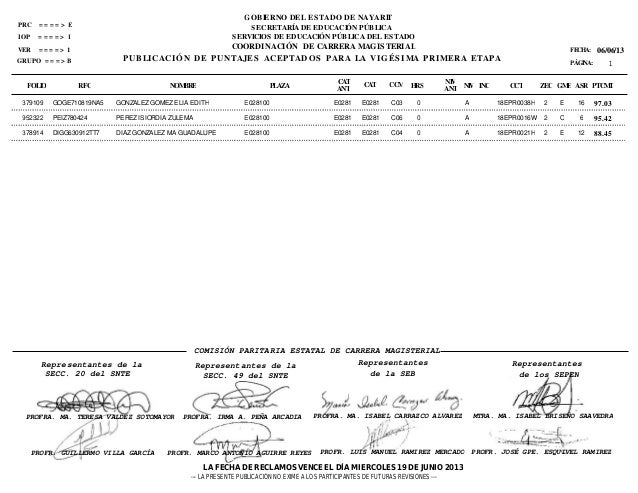 FOLIO RFC PLAZA HRSNIVNIV ZECFECHA:PÁGINA:06/06/13CATANTCATANT PTCMTNOMBRE CCT GME ASRCCM INCIGRUPO = = = > BCOORDINACIÓN ...