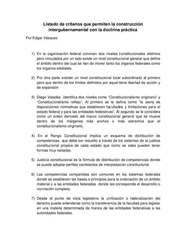 Listado de criterios que permiten la construcción            intergubernamental con la doctrina prácticaPor Edgar Vásquez ...