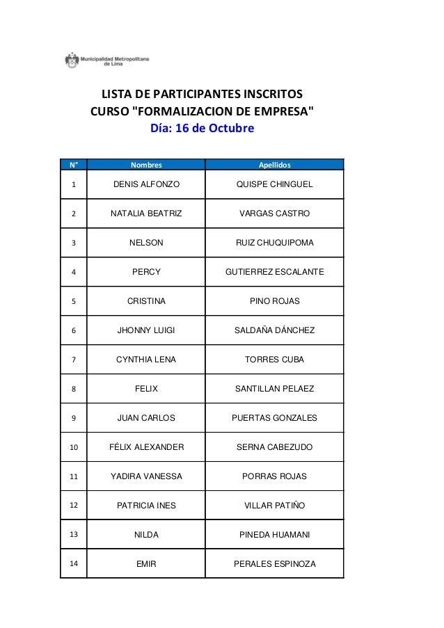 N°  Nombres  Apellidos  1  DENIS ALFONZO  QUISPE CHINGUEL  2  NATALIA BEATRIZ  VARGAS CASTRO  3  NELSON  RUIZ CHUQUIPOMA  ...