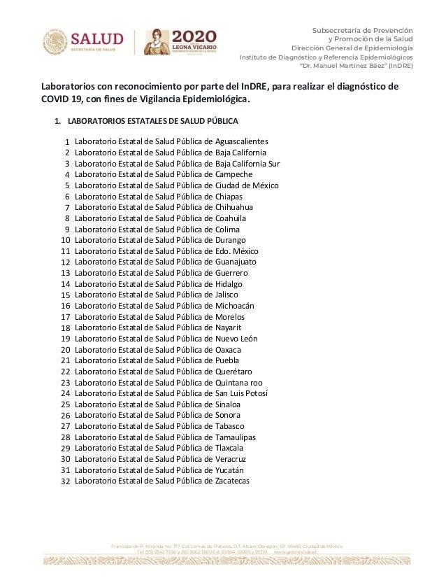 Subsecretaría de Prevención y Promoción de la Salud Dirección General de Epidemiología Instituto de Diagnóstico y Referenc...
