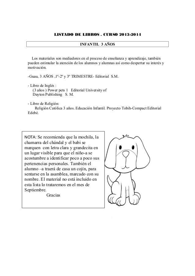 LISTADO DE LIBROS . CURSO 2013-2014 INFANTIL 3 AÑOS Los materiales son mediadores en el proceso de enseñanza y aprendizaje...