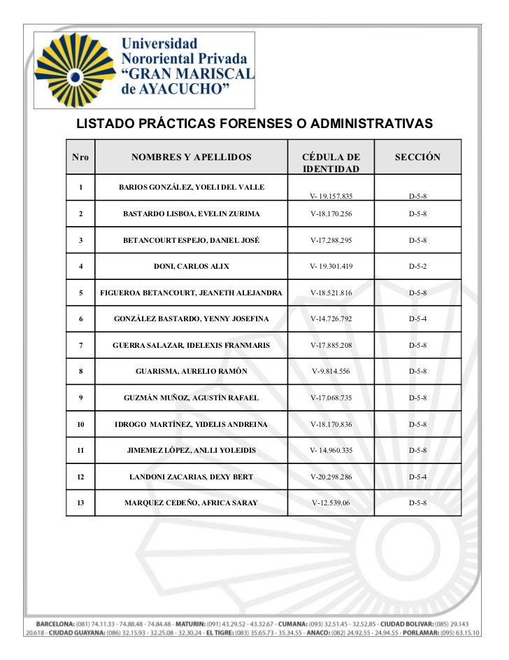 Listado de  prácticas forenses o administrativas