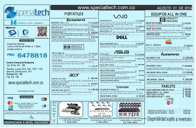 Sistema Operativo: Windows 8 / Unidad: DVD /Pantalla de 15/ AIO01-O COMPAQ AIO 2001-O U940-SP4103GL Procesador:IntelCorei5...