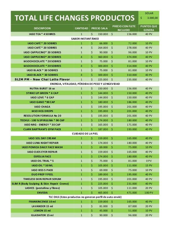 Listado de precios productos tlc colombia 2016 for Estanques de geomembrana precios en colombia