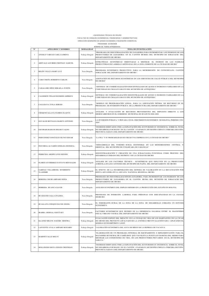 UNIVERSIDAD TÉCNICA DE ORURO                                         FACULTAD DE CIENCIAS ECONÓMICAS, FINANCIERAS Y ADMINI...