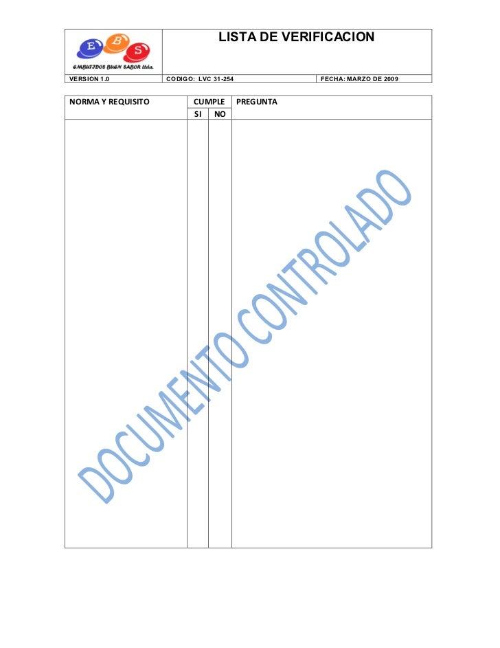 LISTA DE VERIFICACIONVERSION 1.0         CODIGO: LVC 31-254              FECHA: MARZO DE 2009NORMA Y REQUISITO          CU...