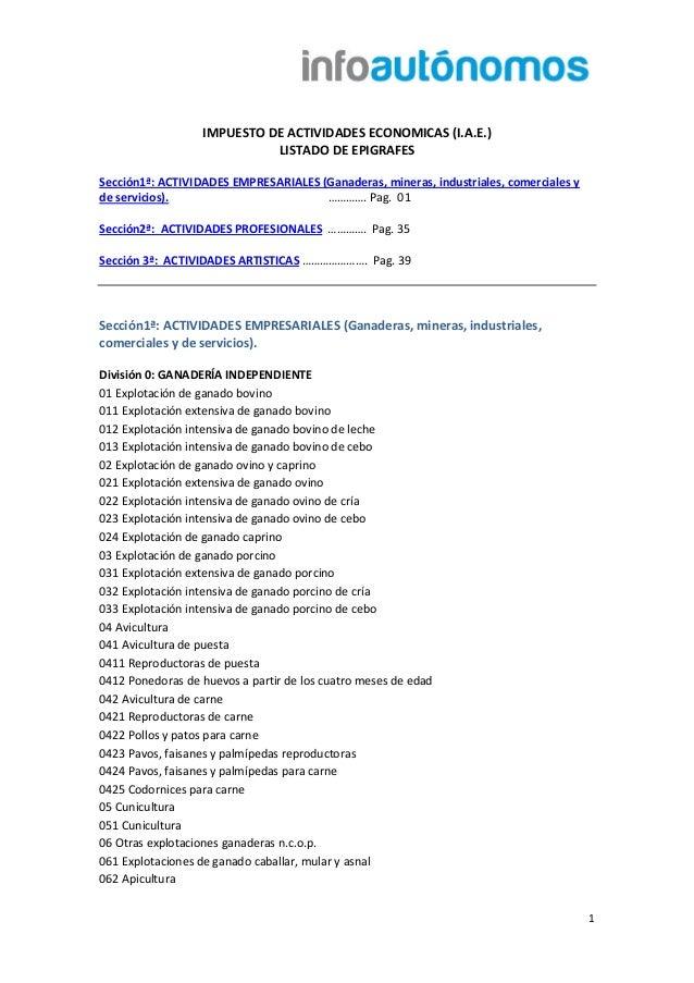 1 IMPUESTO DE ACTIVIDADES ECONOMICAS (I.A.E.) LISTADO DE EPIGRAFES Sección1ª: ACTIVIDADES EMPRESARIALES (Ganaderas, minera...