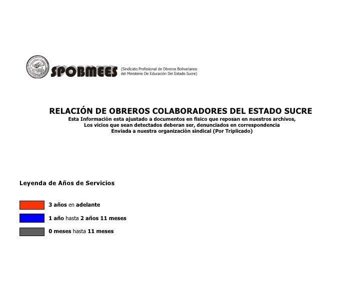 RELACIÓN DE OBREROS COLABORADORES DEL ESTADO SUCRE              Esta Información esta ajustado a documentos en fisico que ...