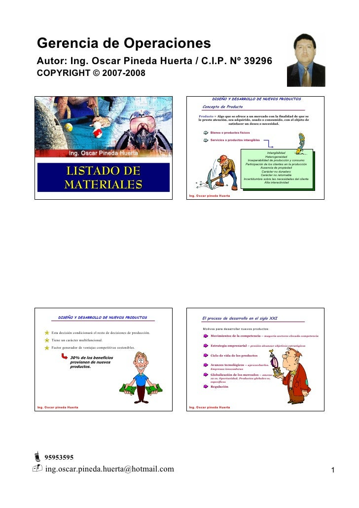 Gerencia de Operaciones Autor: Ing. Oscar Pineda Huerta / C.I.P. Nº 39296 COPYRIGHT © 2007-2008                           ...