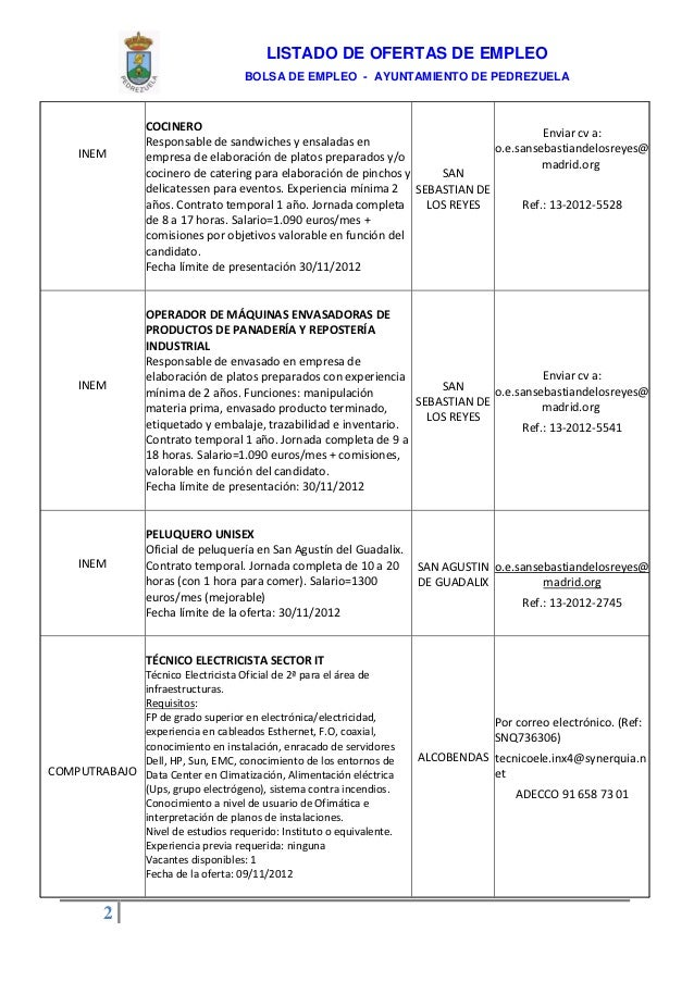 Listado ofertas empleo ayuntamiento de pedrezuela 14 de for Horario oficina inem madrid