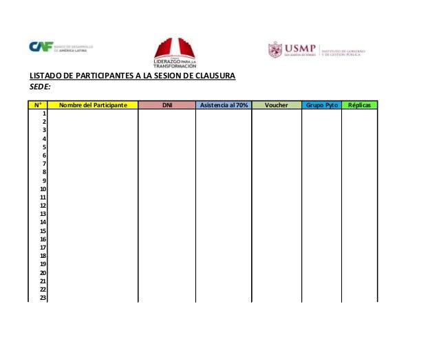 LISTADO DE PARTICIPANTES A LA SESION DE CLAUSURA SEDE: N° 1 2 3 4 5 6 7 8 9 10 11 12 13 14 15 16 17 18 19 20 21 22 23  Nom...