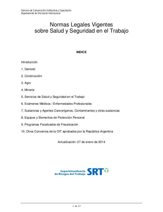 Gerencia de Comunicación Institucional y Capacitación  Departamento de Vinculación Internacional  Normas Legales Vigentes ...