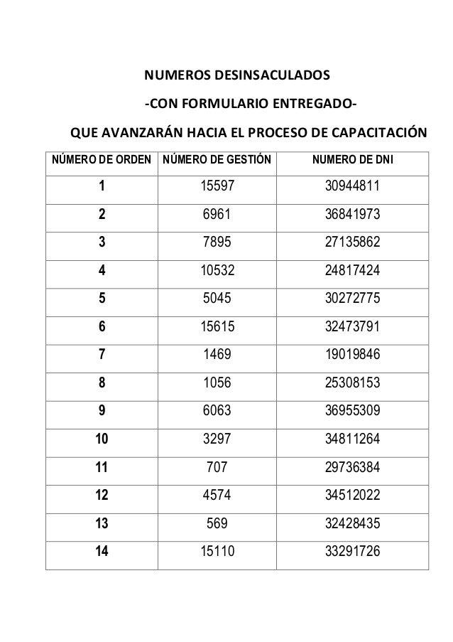 NUMEROS DESINSACULADOS -CON FORMULARIO ENTREGADO- QUE AVANZARÁN HACIA EL PROCESO DE CAPACITACIÓN NÚMERO DE ORDEN NÚMERO DE...