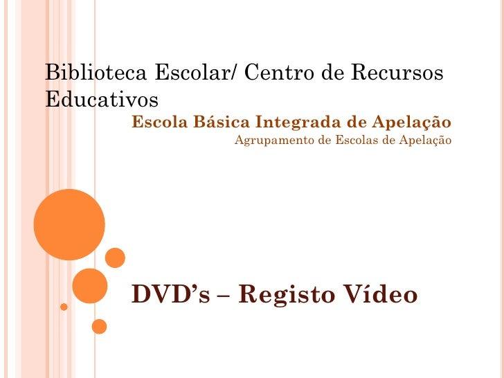 Biblioteca Escolar/ Centro de Recursos Educativos         Escola Básica Integrada de Apelação                    Agrupamen...