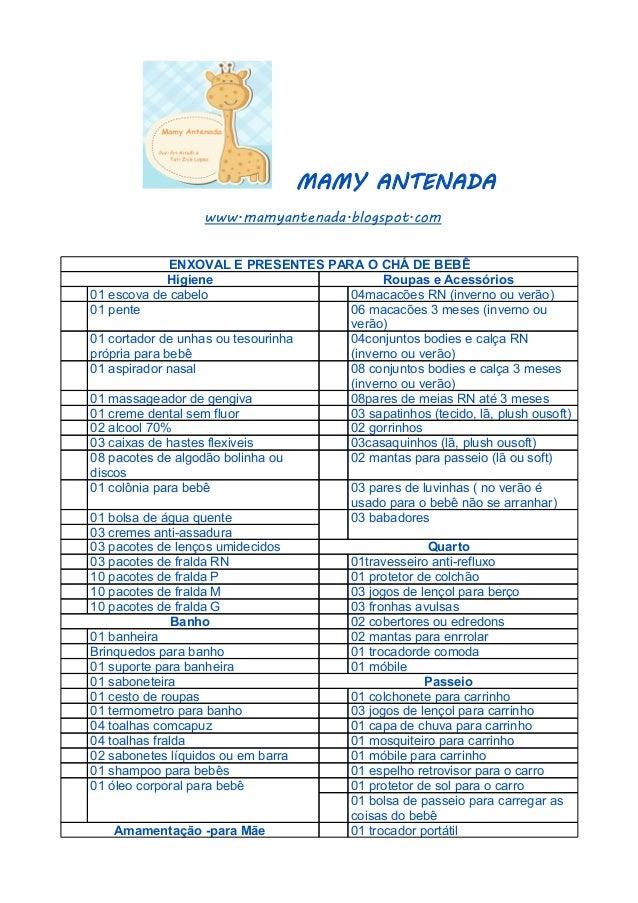 Favoritos Lista enxoval e chá de bebê JS51
