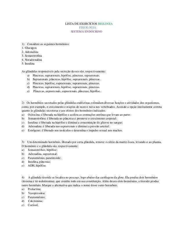 LISTA DE EXERCÍCIOS BIOLOGIA                                            FISIOLOGIA                                       S...