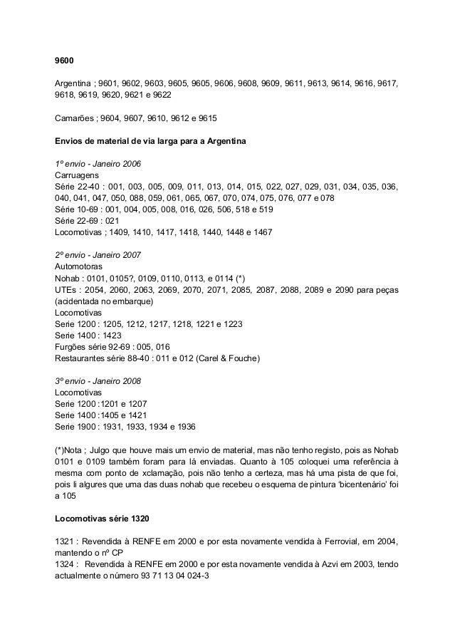 9600  Argentina ; 9601, 9602, 9603, 9605, 9605, 9606, 9608, 9609, 9611, 9613, 9614, 9616, 9617,            ...
