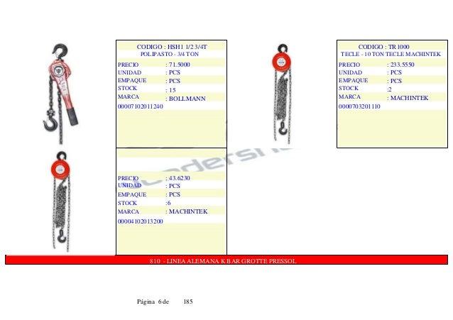 CODIGO : HSH1 1/2 3/4T POLIPASTO - 3/4 TON PRECIO UNIDAD EMPAQUE STOCK MARCA : 71.5000 : PCS : PCS : 15 : BOLLMANN 0000710...