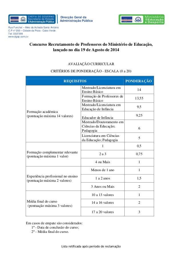 Lista retificada após período de reclamação Direcção Geral da Administração Pública Rua Funchal – Meio da Achada Santo Ant...