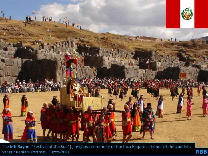 """The Inti Raymi (""""Festival of the Sun"""") , religious ceremony of the Inca Empire in honor of the god Inti.Sacsaihuaman Fortr..."""