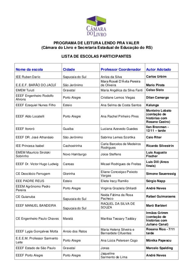 PROGRAMA DE LEITURA LENDO PRA VALER (Câmara do Livro e Secretaria Estadual de Educação do RS) LISTA DE ESCOLAS PARTICIPANT...