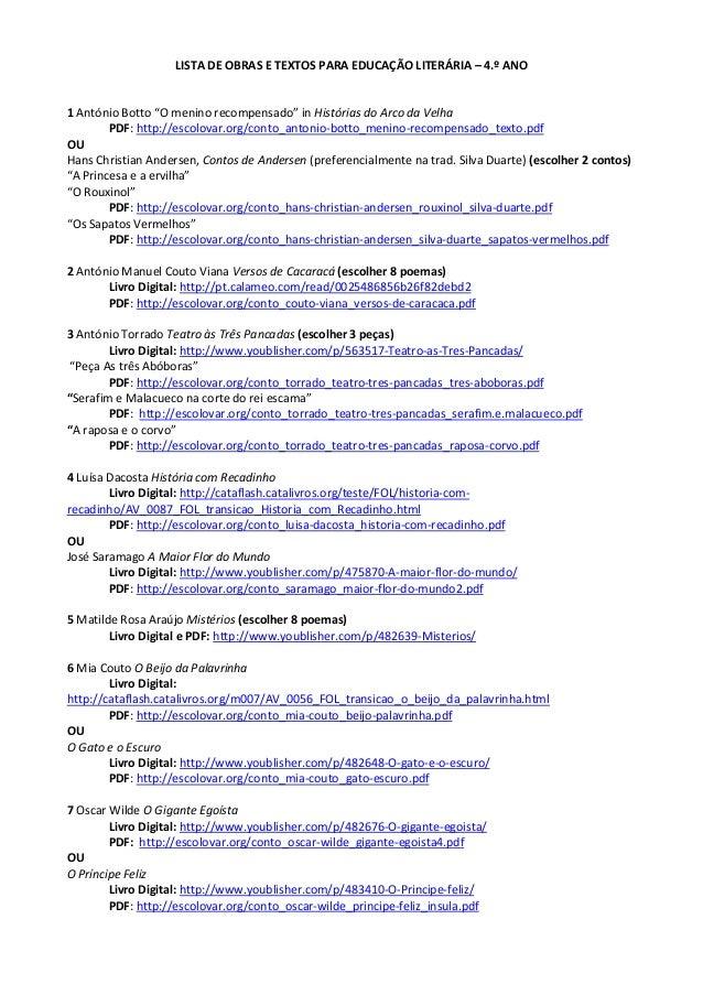 Lista de Obras Literárias 4.º ano