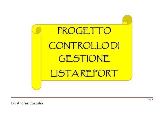 PROGETTO CONTROLLO DI  GESTIONE LISTA REPORT  Pag. 1  Dr. Andrea Cuzzolin