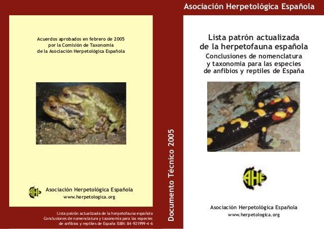 Lista patrón actualizada de la herpetofauna española Conclusiones de nomenclatura y taxonomía para las especies de anfibio...