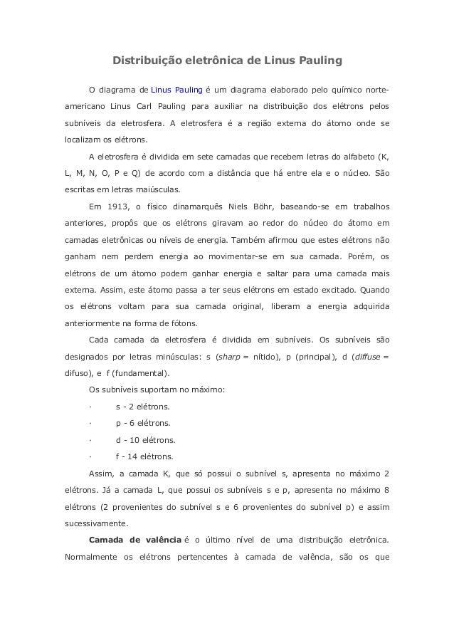 Distribuição eletrônica de Linus PaulingO diagrama de Linus Pauling é um diagrama elaborado pelo químico norte-americano L...