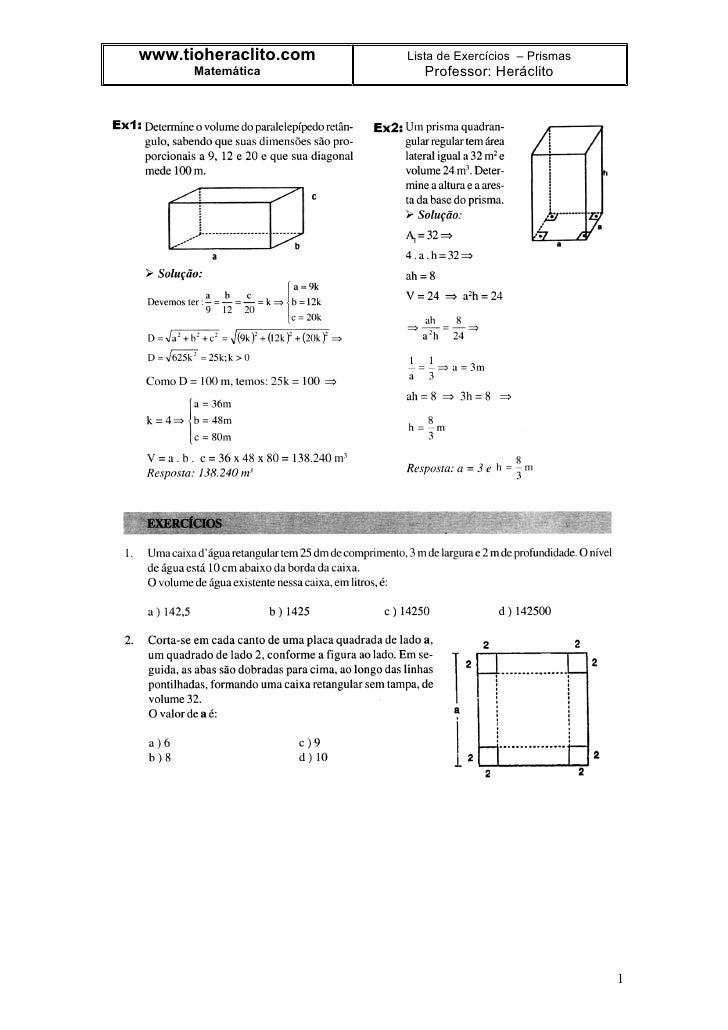 www.tioheraclito.com   Lista de Exercícios – Prismas       Matemática          Professor: Heráclito                       ...