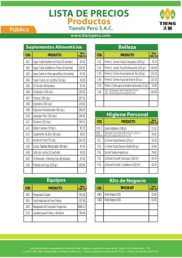 Lista publico productos - Precios de somieres y colchones ...