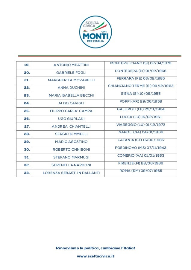 Lista scelta civica - Bagno carla viareggio ...